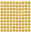 100 animals icons set gold vector image vector image