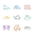 9 ocean icons vector image vector image