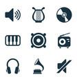 audio icons set with headphone gramophone vinyl vector image vector image