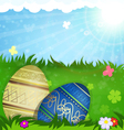 Beige and blue Easter eggs in grass vector image vector image