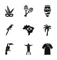 brazil country icon set simple style vector image vector image