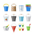 bucket bucketful or wooden pailful and kids vector image vector image