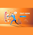 businessman hitting and breaking the goal target vector image