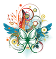 butterfly with floral vector image vector image