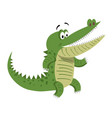 cartoon crocodile standing with wide open mouth vector image vector image