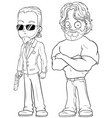 cartoon strong secret agents character set vector image vector image