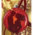 christmas ball with kissing couple vector image vector image