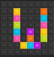 colorful brick block letter w flat design vector image