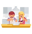cute children girl boy cook cooking kitchen vector image vector image