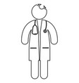 doctor with stethoscope stick figure icon outline vector image