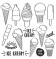 doodle ice cream collection isolated in black and vector image