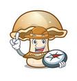 explorer portobello mushroom mascot cartoon vector image vector image