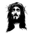 face of jesus with crown of thorns vector image