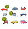 flat icons of broken vehicles after road vector image