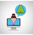 Geometry education online design girl bubble