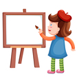 Girl painting blank whiteboard vector image