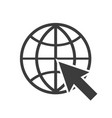 globe with arrow icon in a flat style web vector image vector image