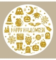 Halloween gold icons set in circle shape vector image vector image