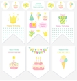 Happy Birthday flags and tags vector image vector image