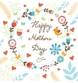 Happy Mothers Day card with flowers and birds vector image