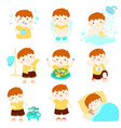 healthy hygiene for boy cartoon vector image
