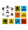 isolated professional electrician icons set vector image vector image