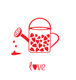 Love watering can with hearts inside Card vector image vector image