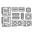 motherboard video card cpu ram disk computer vector image vector image
