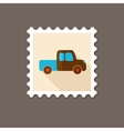 Pickup truck flat stamp with long shadow vector image vector image