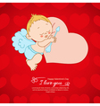 Postcard Valentines Day with Cupid background vector image
