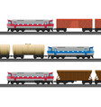 powerful modern trains with carriages for natural vector image vector image