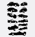 race car and transportation silhouettes vector image