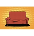 Red sofa then art retro vector image