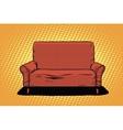 Red sofa then art retro vector image vector image