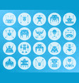 robot shape carved flat icons set vector image vector image