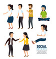set people with social media communication vector image