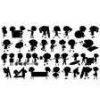 set sihouette isolated objects theme - children vector image vector image