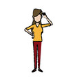 standing young woman cheerful casual clothes vector image