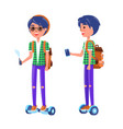 students with gyroscooter and vape boy vector image vector image