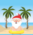 summer holiday vacation with santa claus vector image vector image
