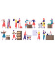 supermarket grocery shopping buyers in grocery vector image vector image