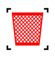 trash sign red icon inside vector image