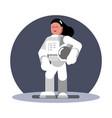 woman cosmonaut standing vector image vector image