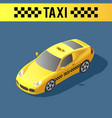 yellow sedan car taxi transport service vector image vector image