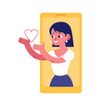 young woman from smartphone screen sending heart vector image vector image