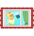 Young woman is washing the window vector image vector image