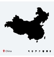 High detailed map of China with navigation pins vector image