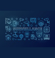 surveillance blue horizontal linear vector image