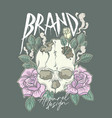 apparel design with classic skull and roses vector image vector image