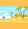 beach family holiday composition vector image vector image